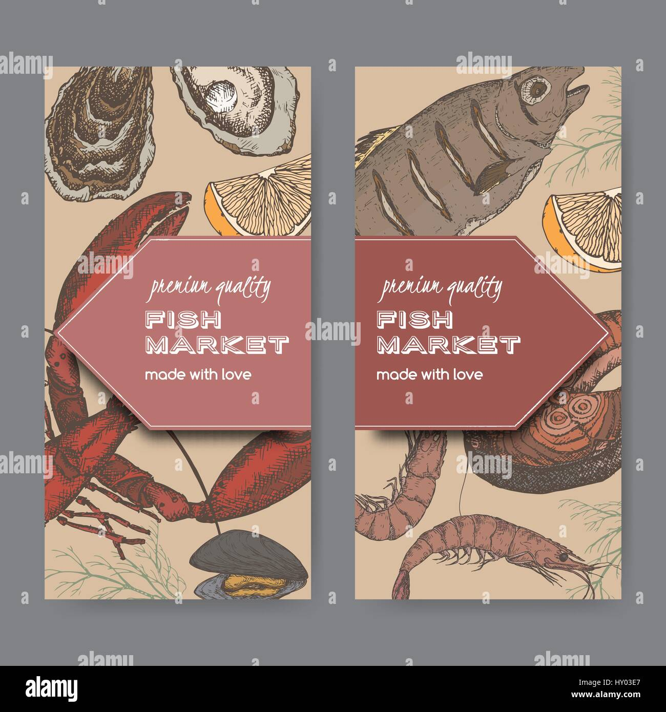 Fish Market Stock Vector Images - Alamy