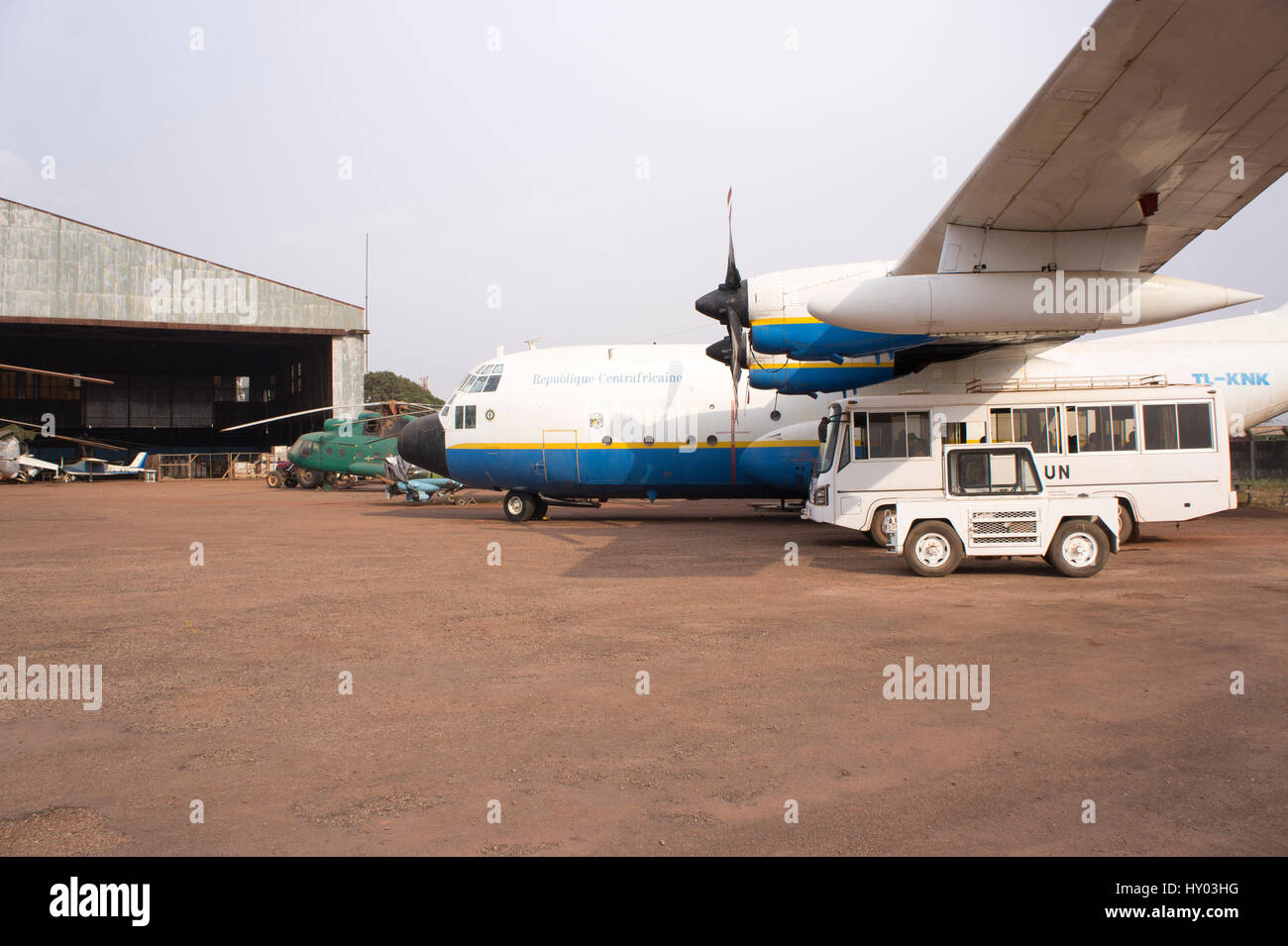 Lockheed C130A Hercules aircraft, tail number TL-KNK, belonging to the Central African Republic Air Force, parked - Stock Image