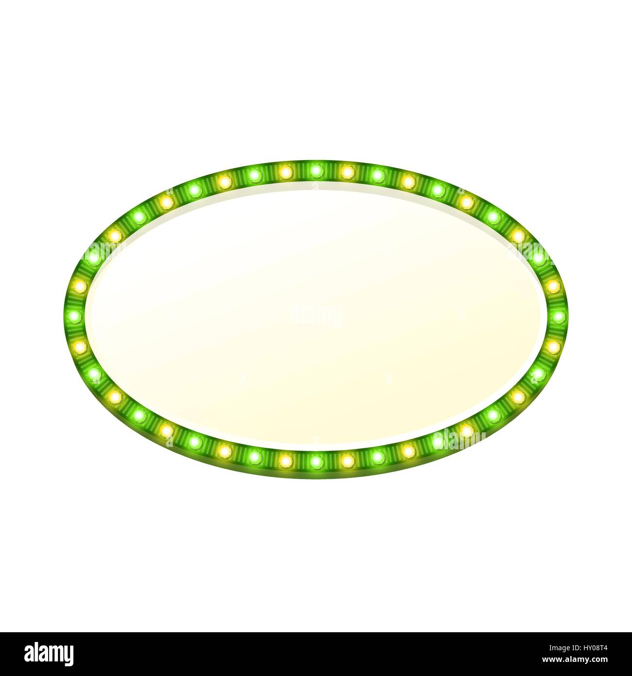 Blank 3d oval retro light banner with shining lights. Green sign with green and yellow bulbs and bright blank space - Stock Vector