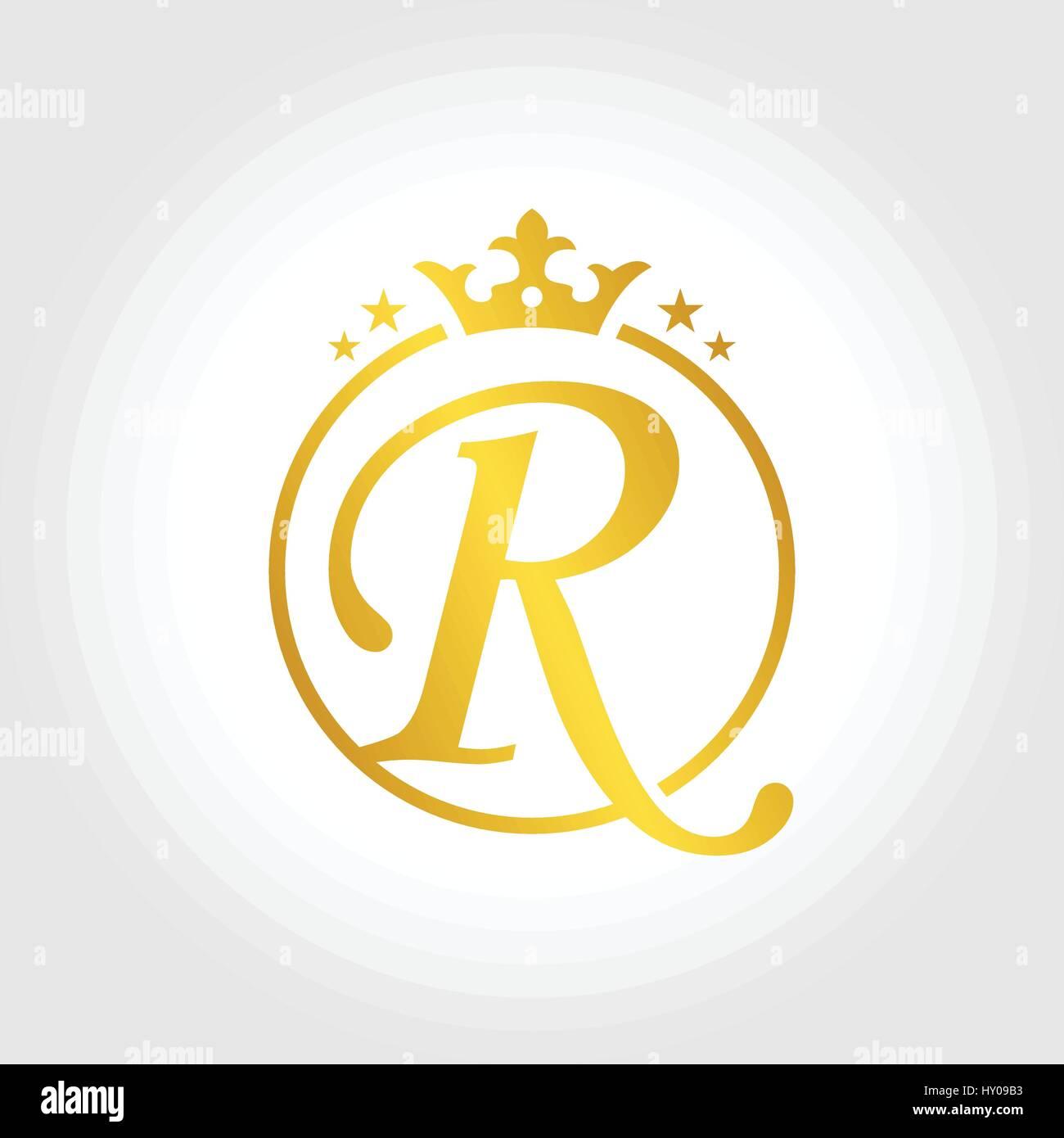 Letter R Initial Inside Circle Symbol Design Stock Vector Art