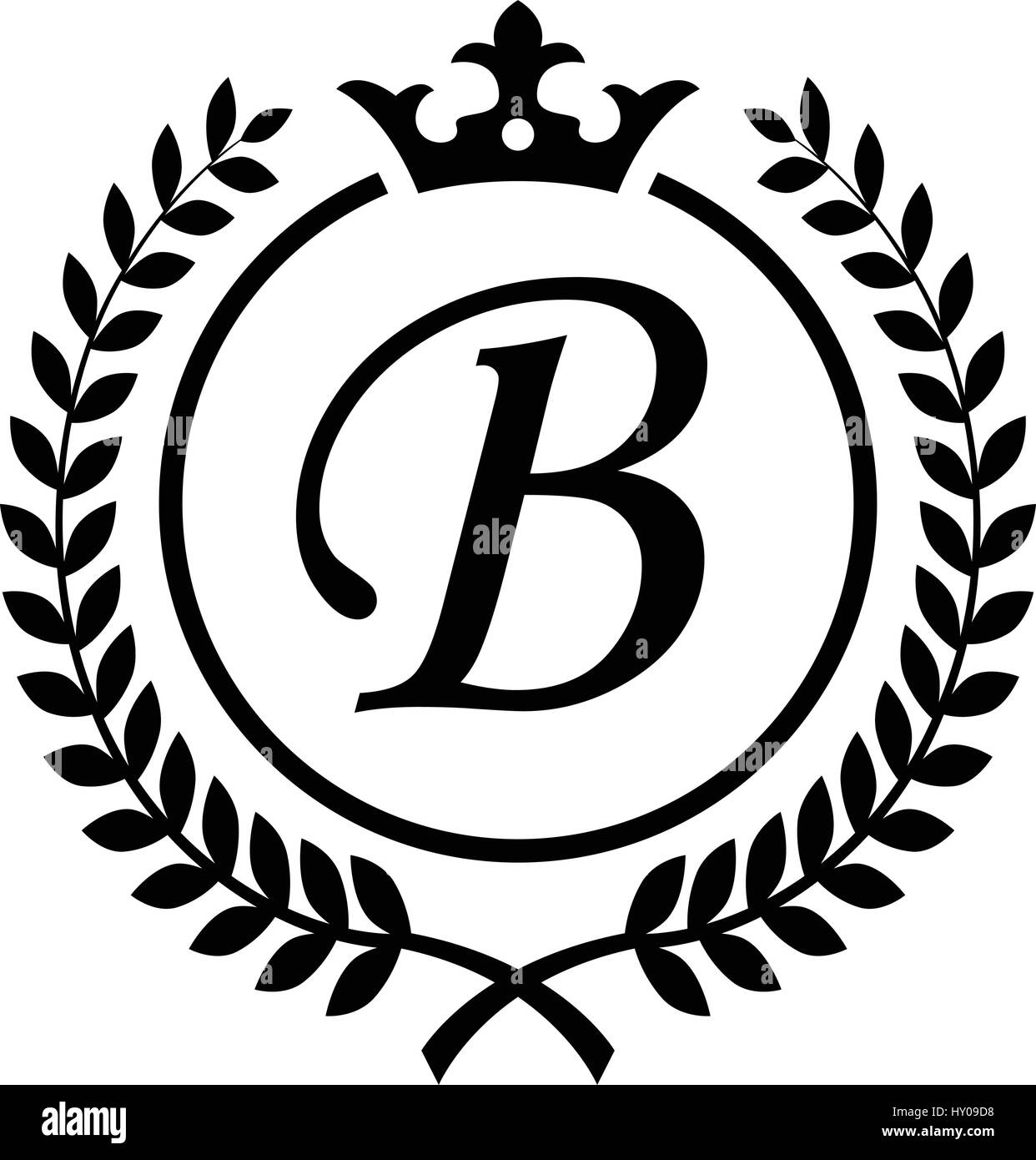 Vintage letter b initial inside laurel wreath symbol design stock
