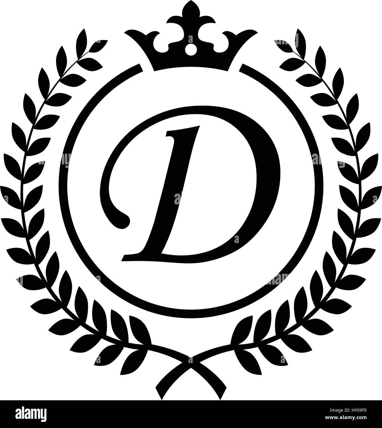 371ea96d Vintage Letter D initial inside Laurel wreath symbol design - Stock Vector