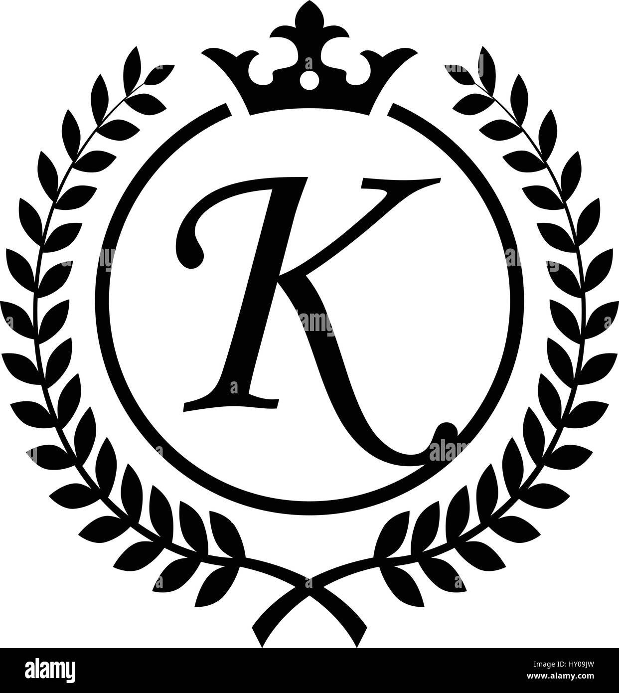 Vintage Letter K initial inside Laurel wreath symbol design - Stock Image