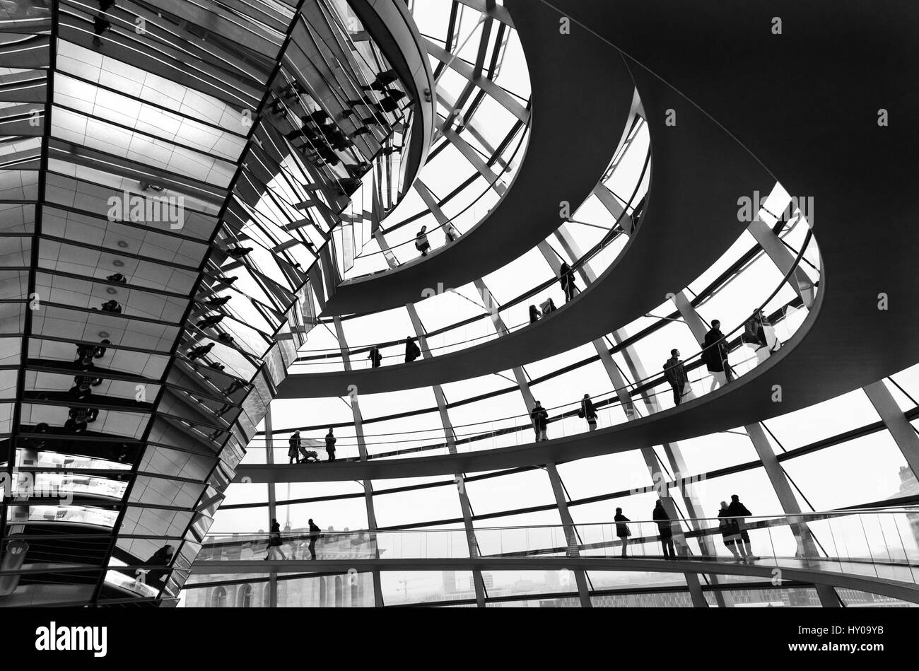Berlin, Germany - February 19, 2017: Deutscher bundestag German Parliament modern glass dome with people around - Stock Image