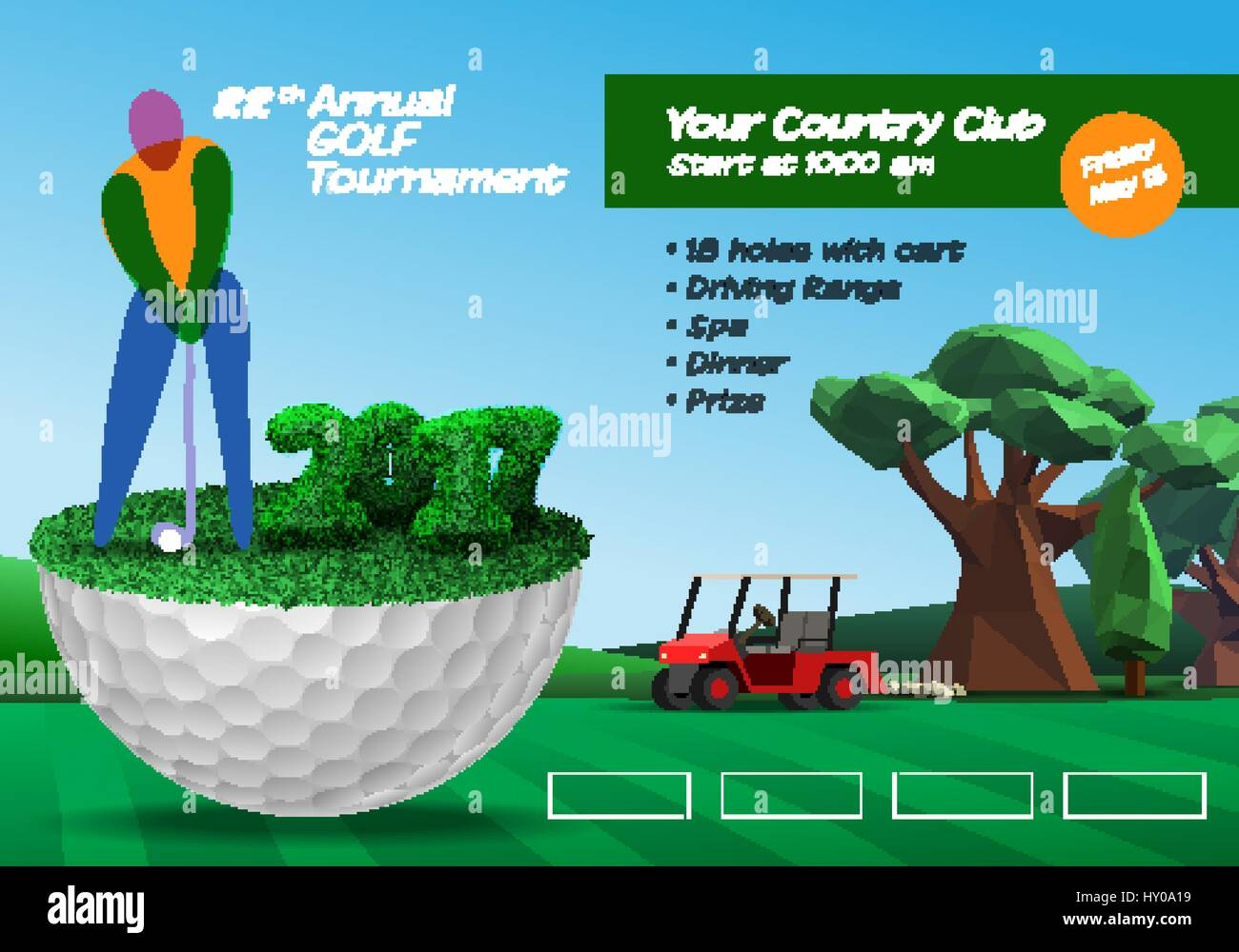 Golf Player Standing On Golf Ball Golf Course Background Horizontal Stock Vector Image Art Alamy