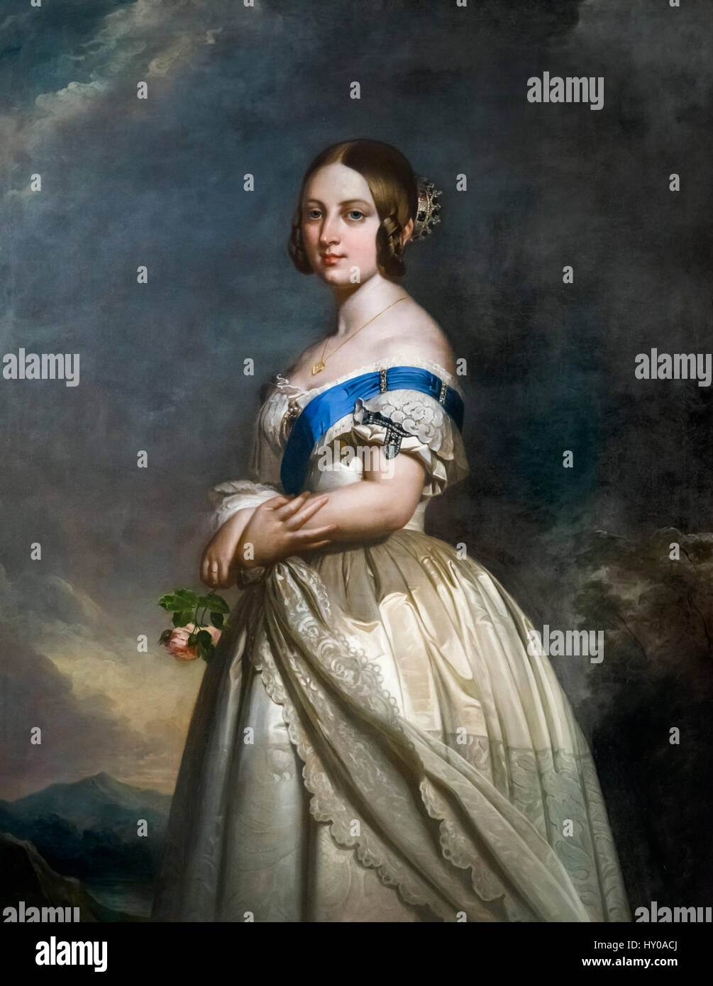 Queen Victoria of England as a young woman. Portrait by Hermann Winterhalter after an original by Franz Xaver Winterhalter, - Stock Image