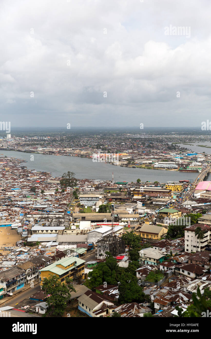 West Point, a district of Monrovia, Liberia's capital.During the Ebola outbreak the area was quarantined leading - Stock Image