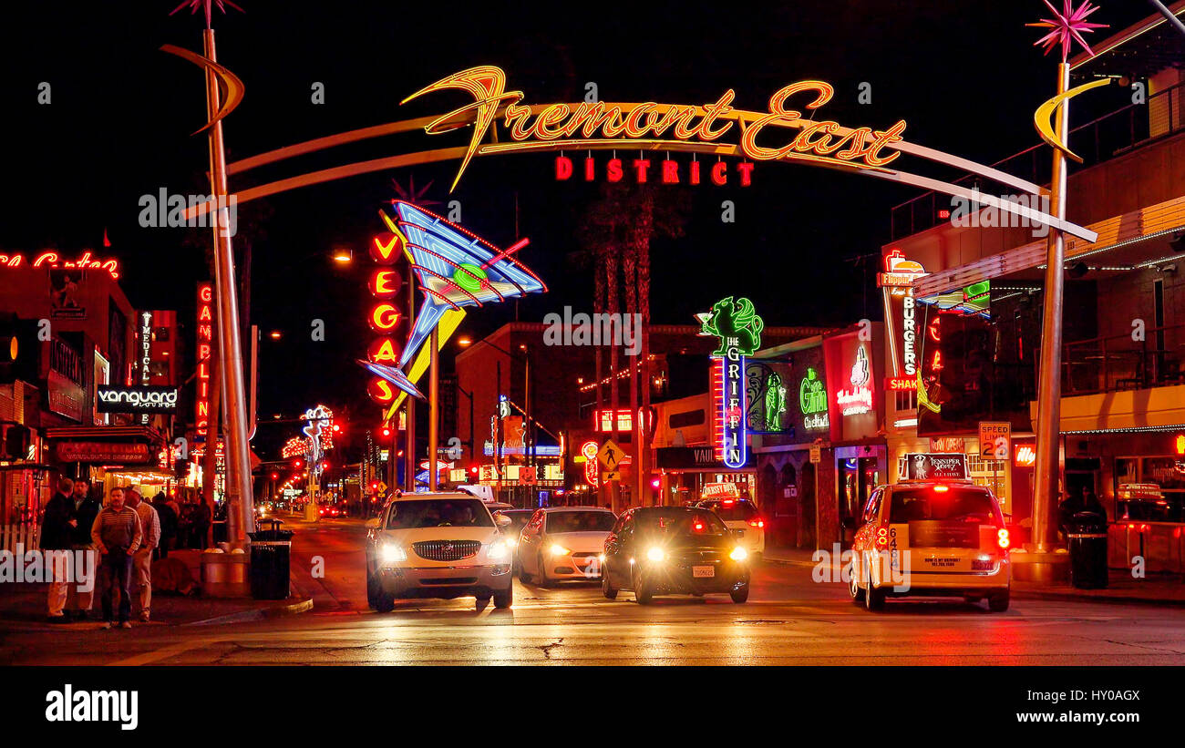 Neon Lights And Traffic At Freemont Street On The Las Vegas Strip At Night