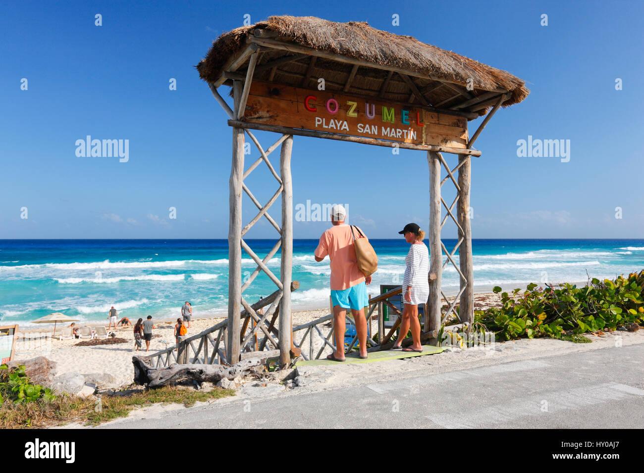 Cozumel San Martin beach - Stock Image