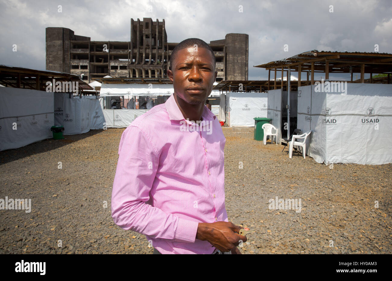 Dr. Soka Moses a Liberian Doctor in Monrovia, ran the MOD1 Ebola Treatment Unit (ETU) since the outbreak really - Stock Image