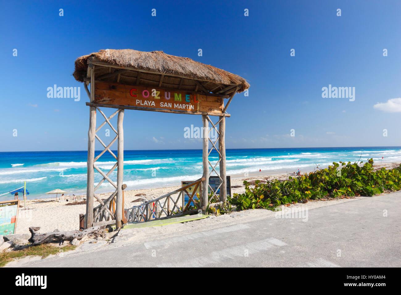 Cozumel beach San Martin - Stock Image