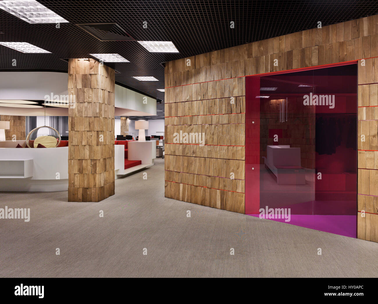 Moscow, interior, office, working, design, decor, modern,workplace, architecture, features, red-white, luxury, working - Stock Image