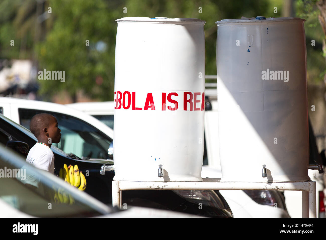 Liberia has successfully marketed the message that Ebola is Real through a multitude of posters, paintings, canvassing, - Stock Image