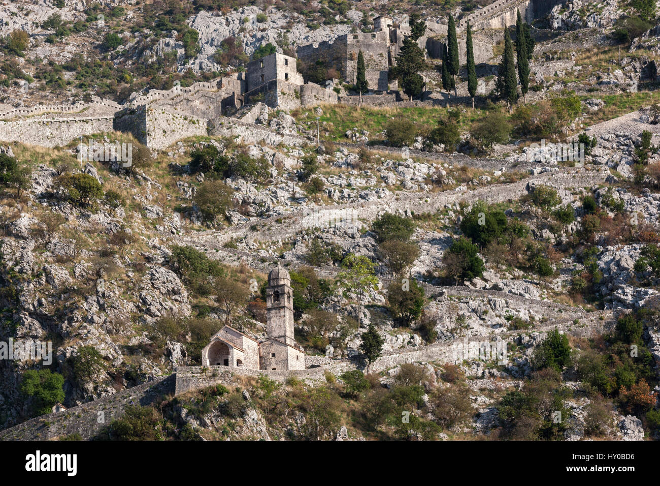 Church along  Kotor fortifications, built during the Venetian period. Montenegro - Stock Image