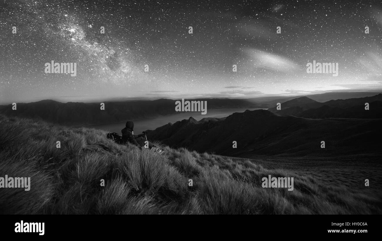 Watching / photographing the stars from up high - Stock Image