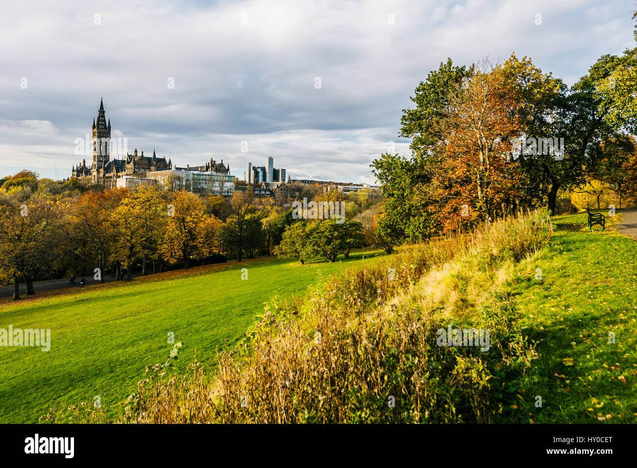 View of the Glasgow University from the Kelvingrove Park - Stock Image