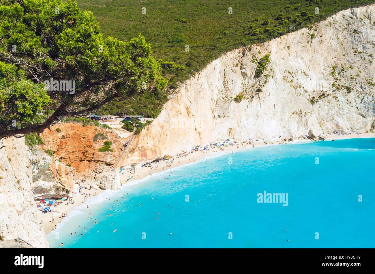 Porto Katsiki Lefkada beach tight shot from above - Stock Image