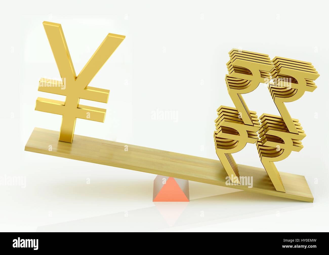 Balancing, japanese yen and indian rupee - Stock Image