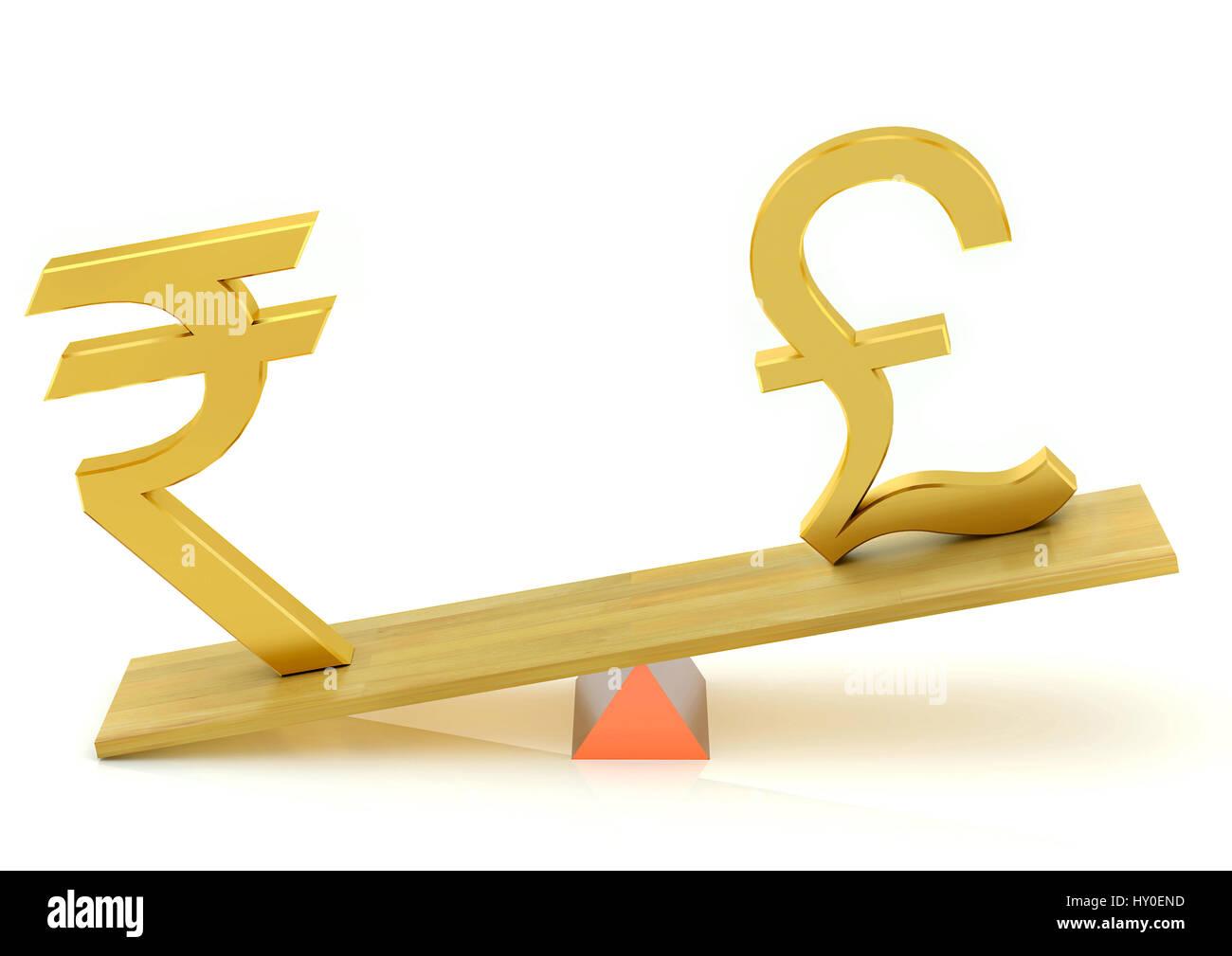 Balancing, indian rupee and british pound - Stock Image