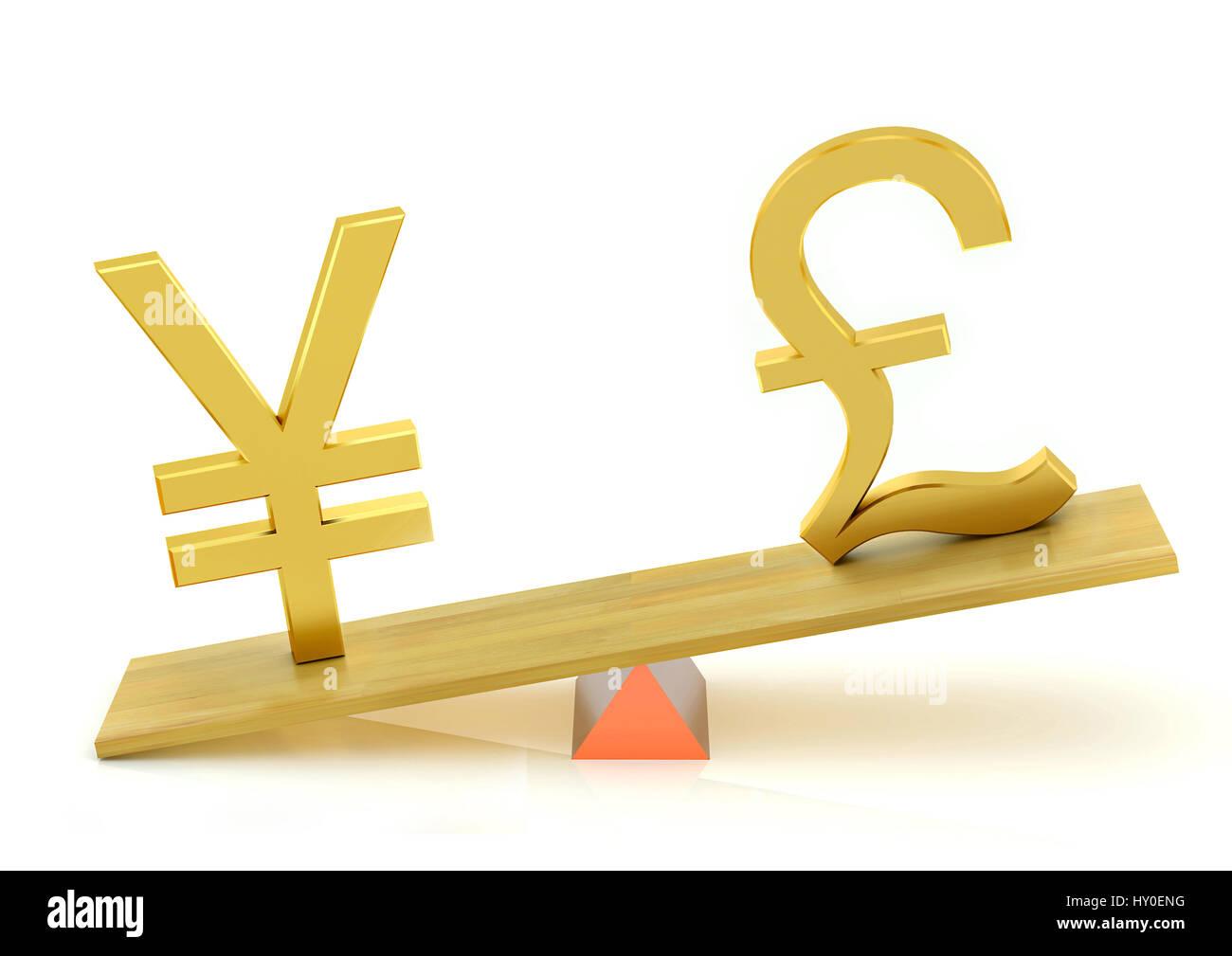 Balancing, japanese yen and british pound - Stock Image