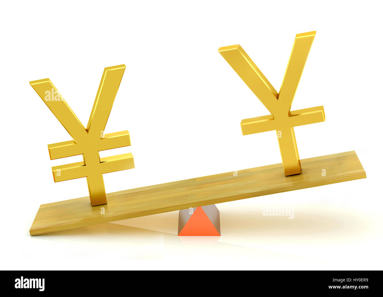 Balancing, japanese yen and chinese yuan - Stock Image