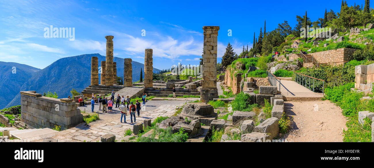View of the famous ruins in Delphi, Greece Stock Photo