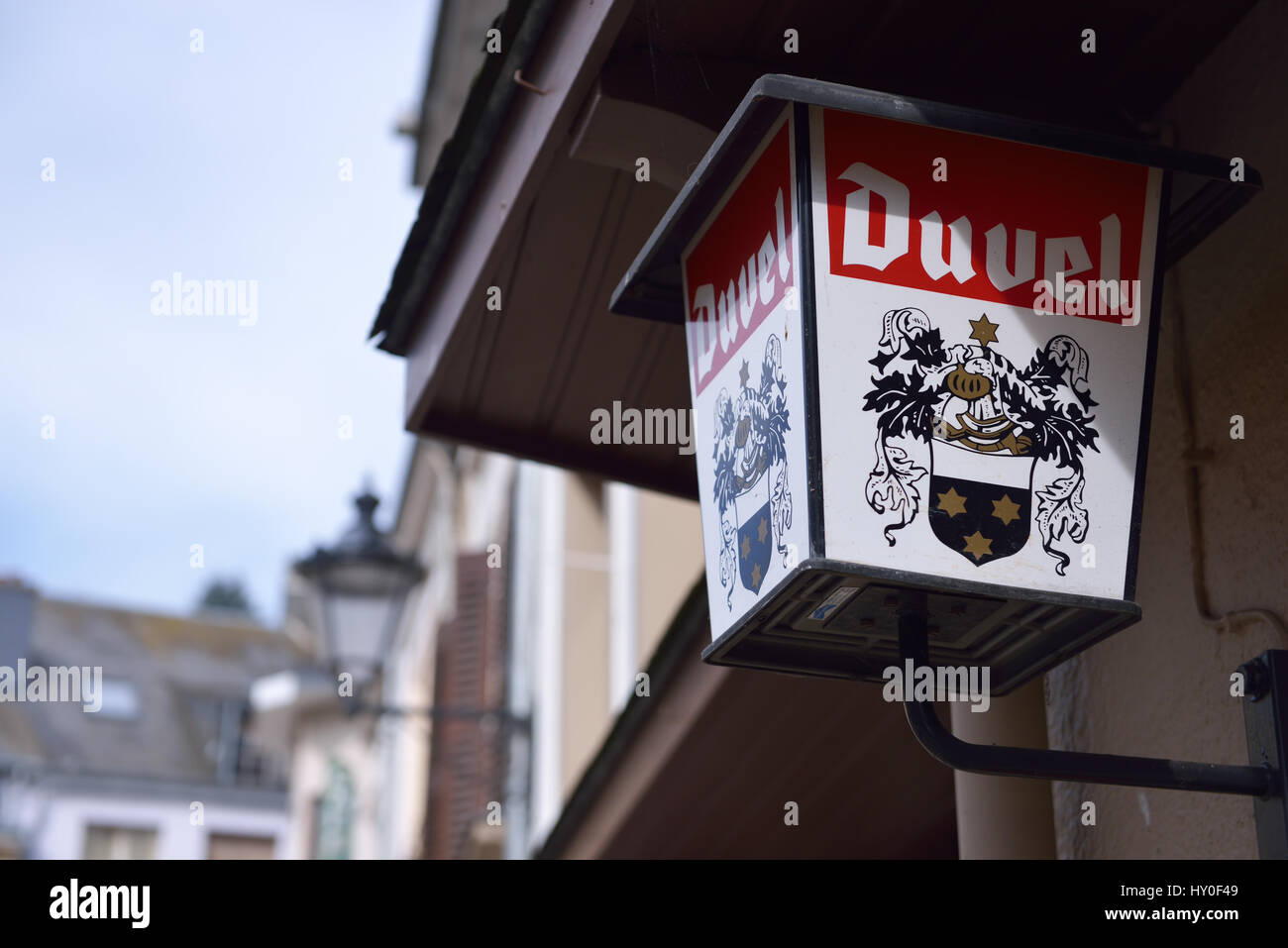 Advertisement lantern with logos of famous beer Duvel on the