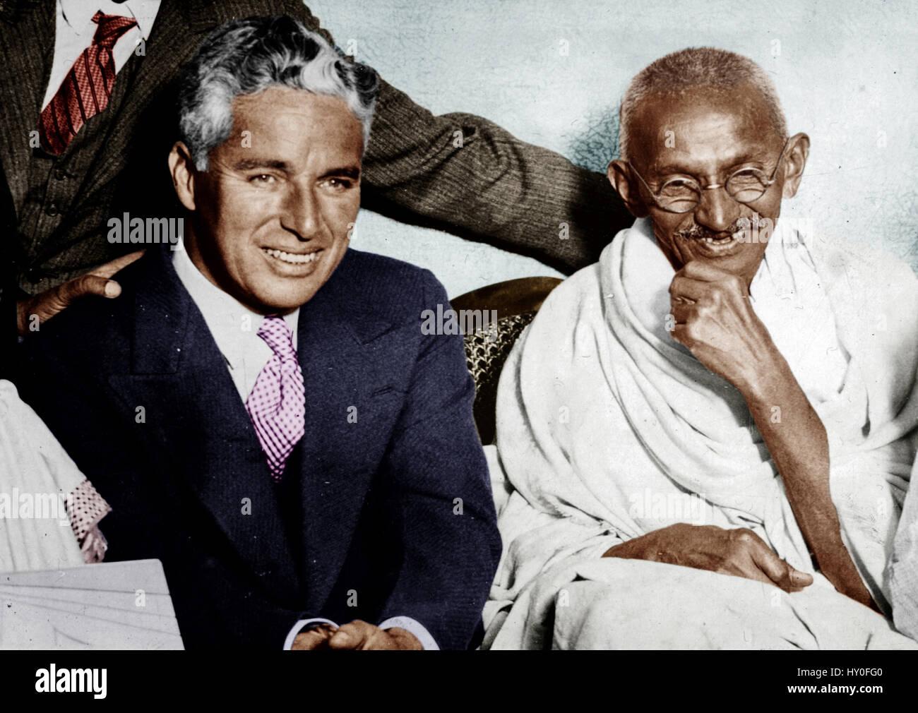 Mahatma gandhi and charlie chaplin, india, asia, 1931 Stock Photo ...
