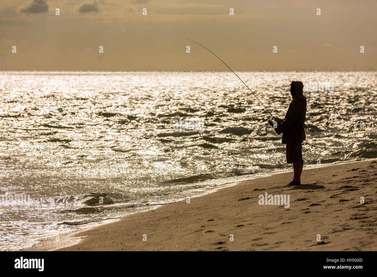 Angler on the beach, Sylt, Germany - Stock Image