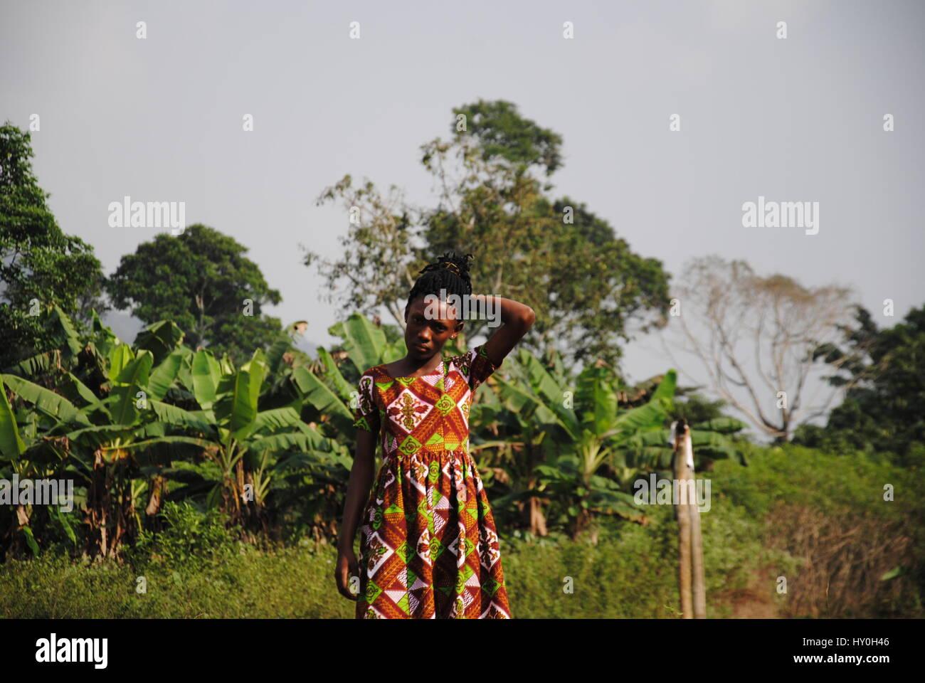 Girl at Akwansiem, Eastern Region, Ghana, Africa - Stock Image