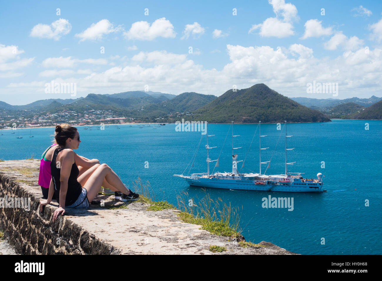 View of Rodney Bay in St Lucia, in the Caribbean, from Rodney Fort - Stock Image