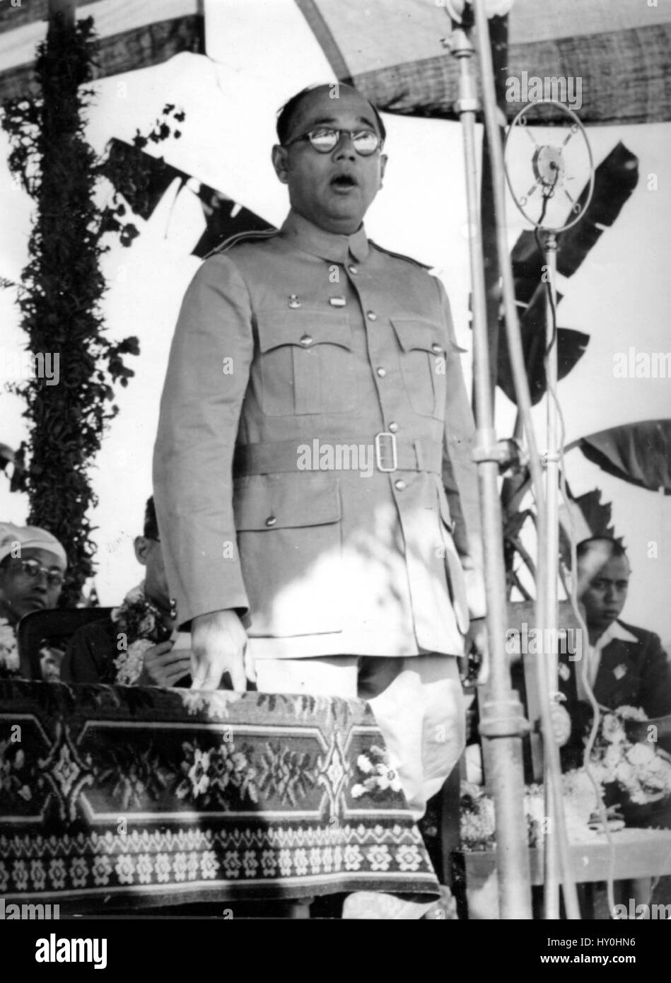 Indian freedom fighters, subhas chandra bose delivering speech, india, asia, 1943 - Stock Image