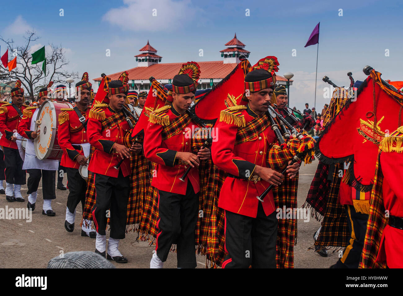 Musical band playing on ridge, shimla, himachal pradesh, india, asia - Stock Image