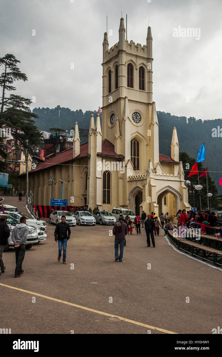 Christ church on ridge, shimla, himachal pradesh, india, asia - Stock Image