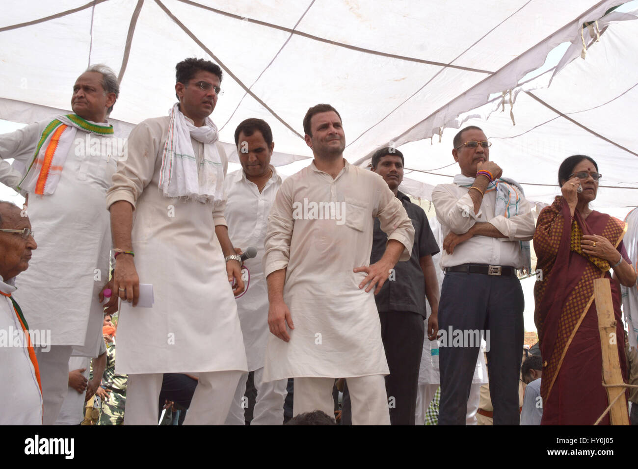 Indian national congress party members, rahul gandhi, sachin pilot and ashok gehlot, india, asia - Stock Image