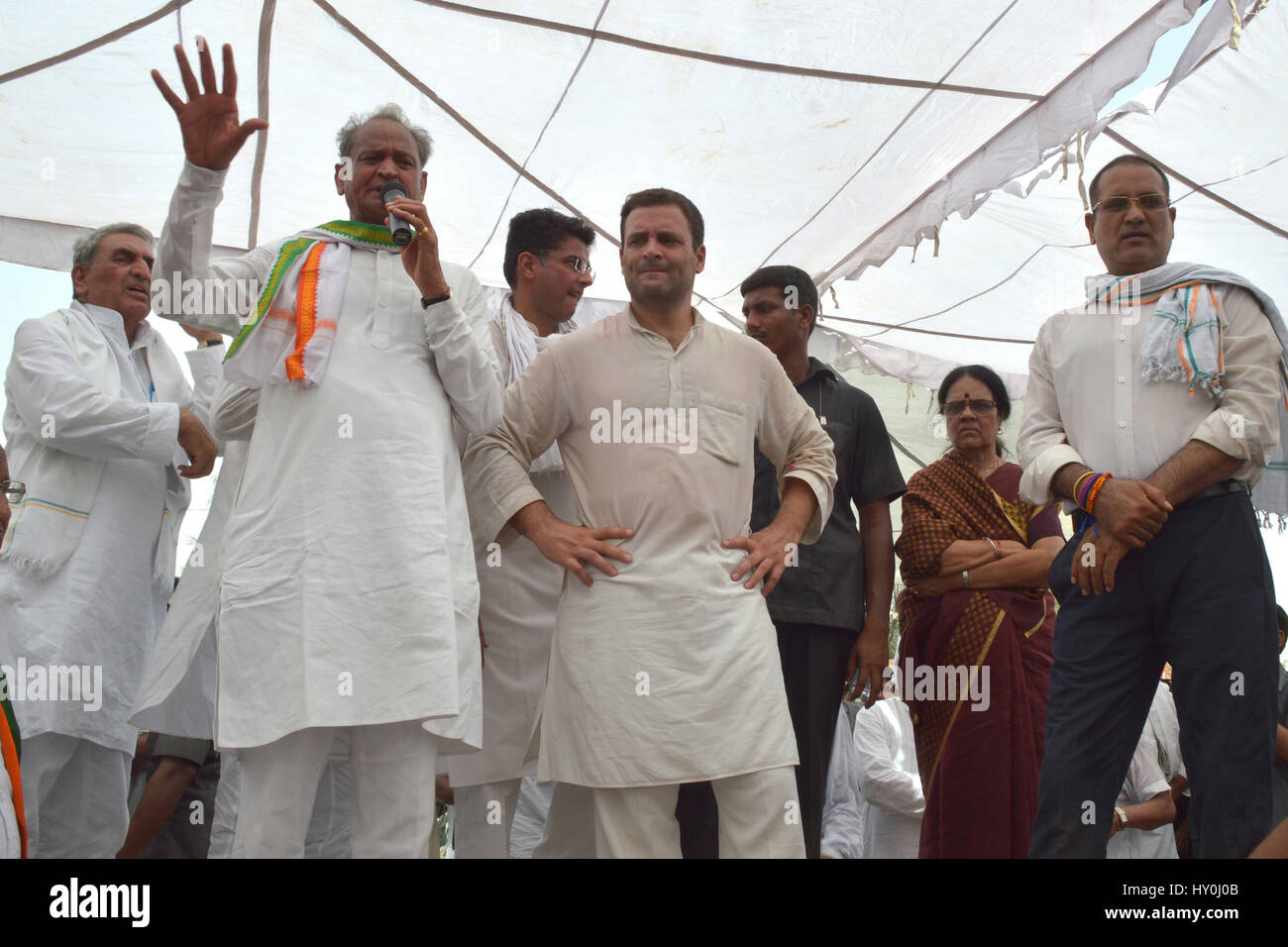 Indian national congress party members, rahul gandhi, ashok gehlot, india, asia - Stock Image