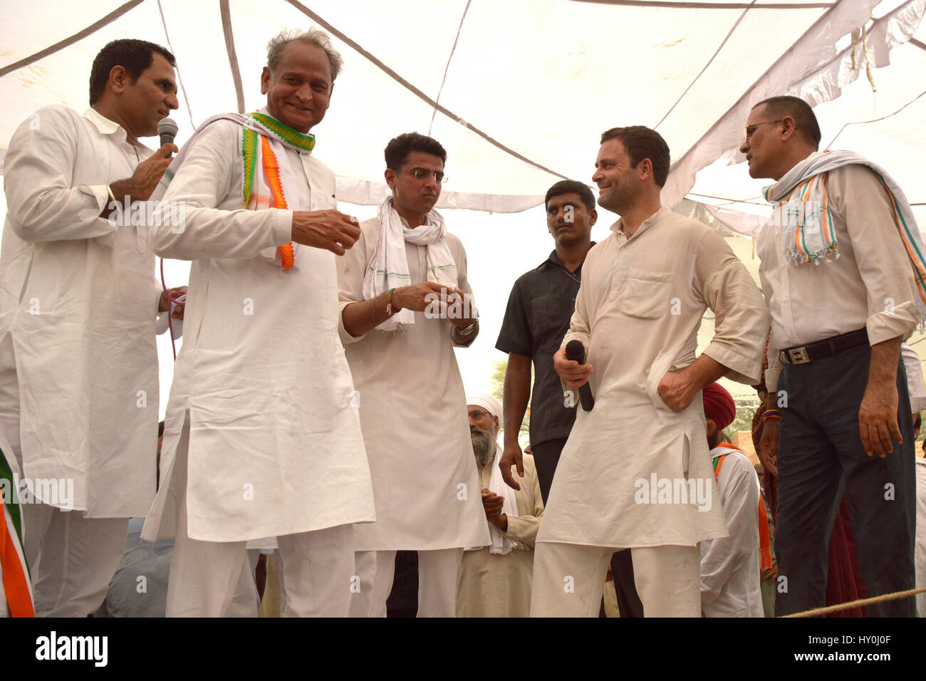 Indian national congress party members, rahul gandhi, ashok gehlot and sachin pilot, india, asia - Stock Image