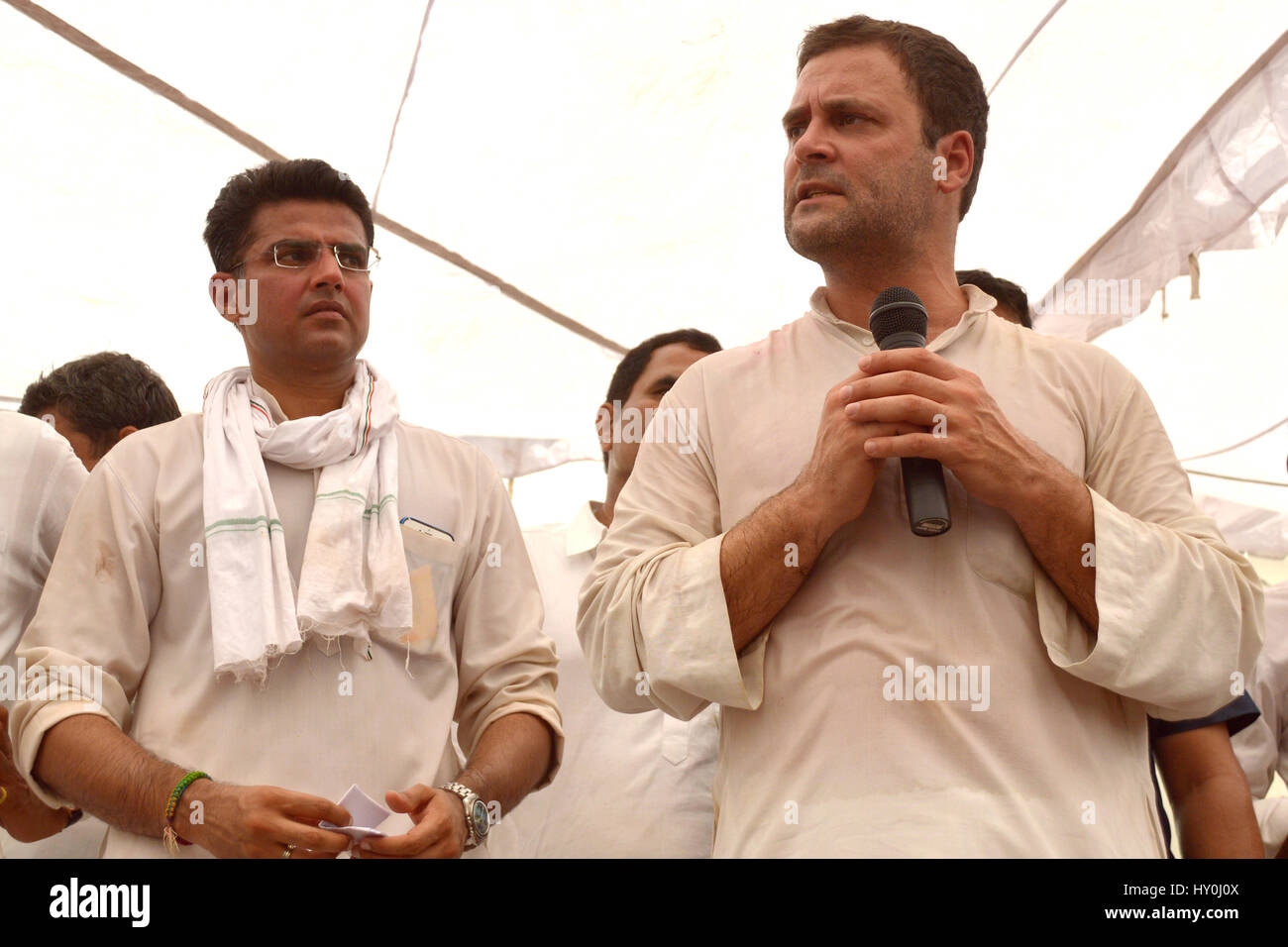 Indian national congress party members, rahul gandhi and sachin pilot, india, asia - Stock Image
