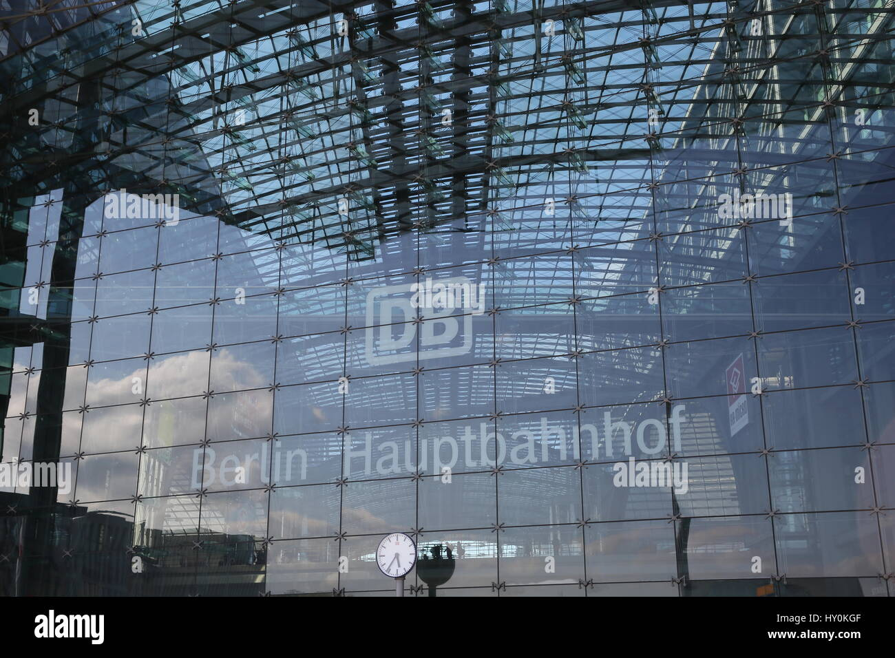 Berlin, Germany, May 7th, 2015: General strike of German train drivers (GdL) leaves the main train station empty Stock Photo