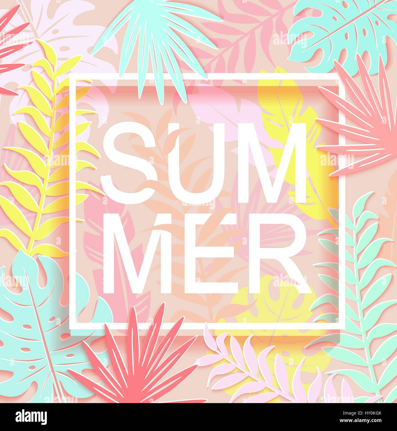 the word summer is surrounded by tropical leaves and square frame