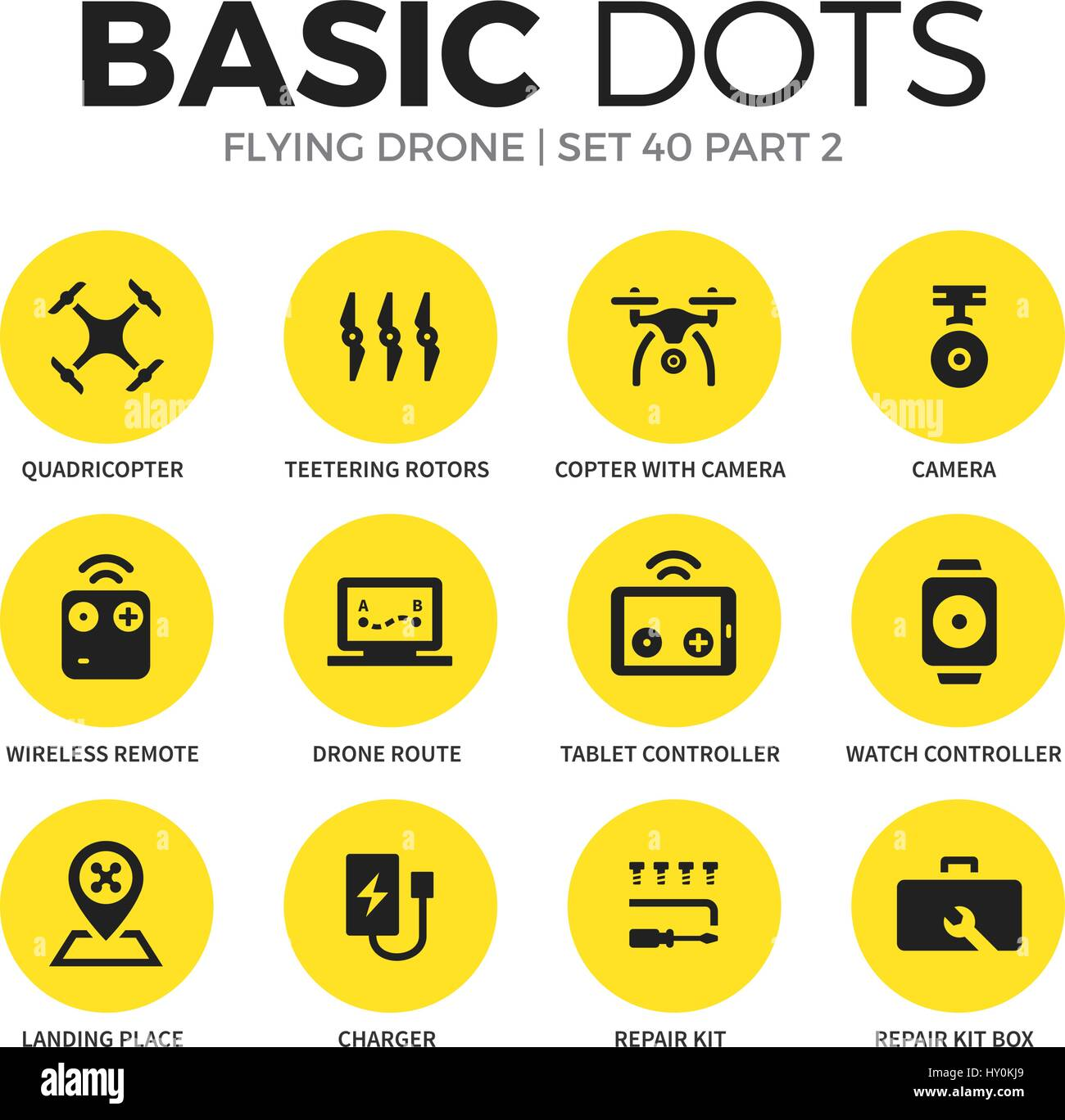 Flying drone flat icons vector set - Stock Image