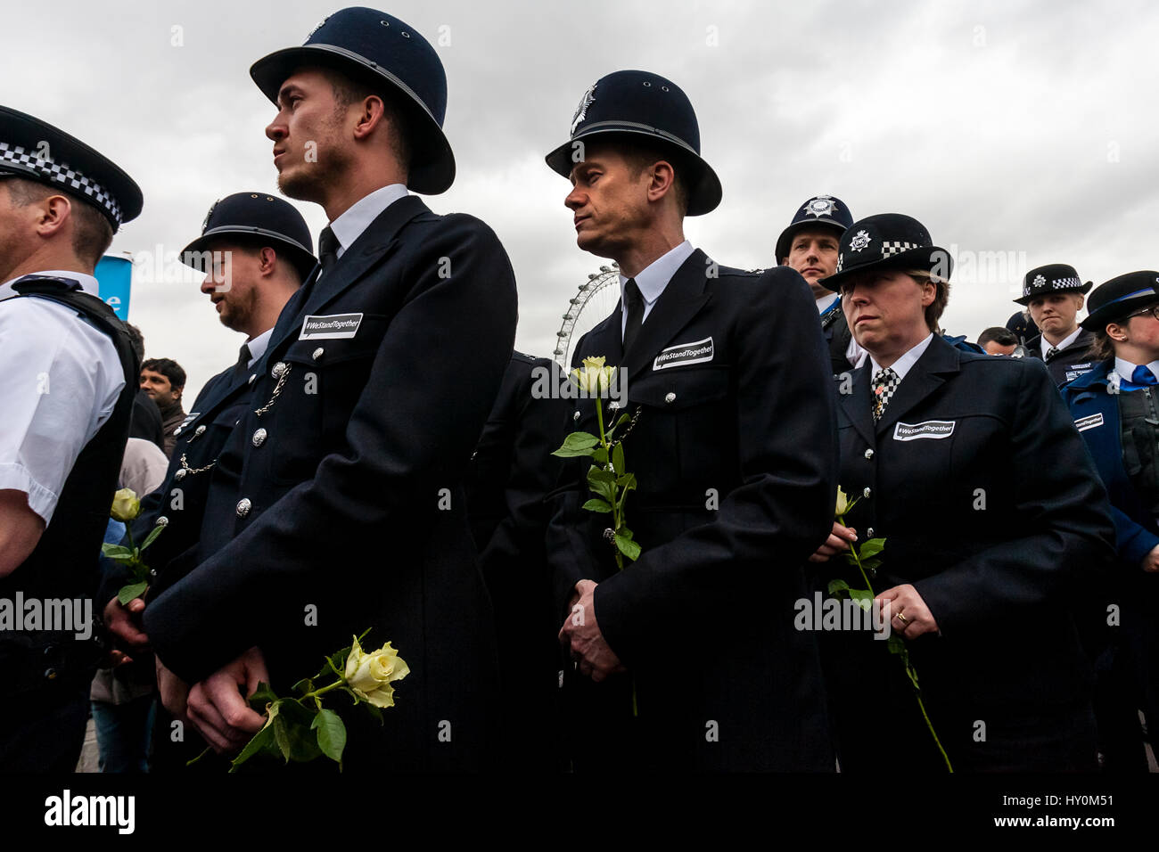 A Week After The London Terror Attack The Metropolitan Police Force Pay Their Respects To The Victims, Westminster - Stock Image