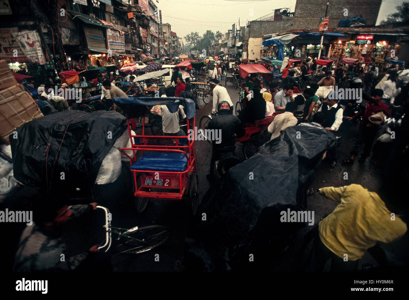 Busy street in New Delhi,India - Stock Image