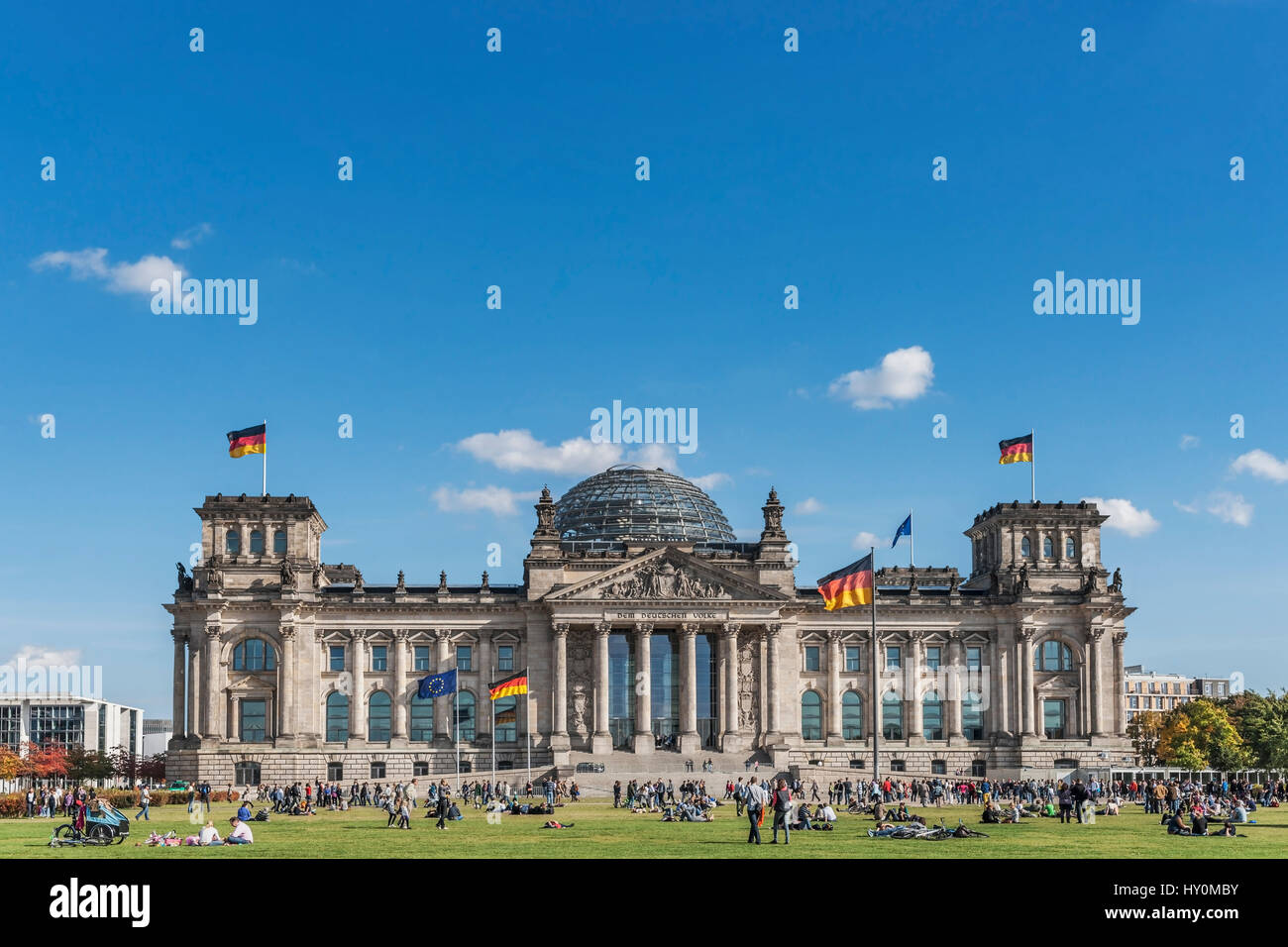 The building of the Reichstag was built between 1884 and 1894 by Paul Wallott. Since 1999 the building is the seat - Stock Image