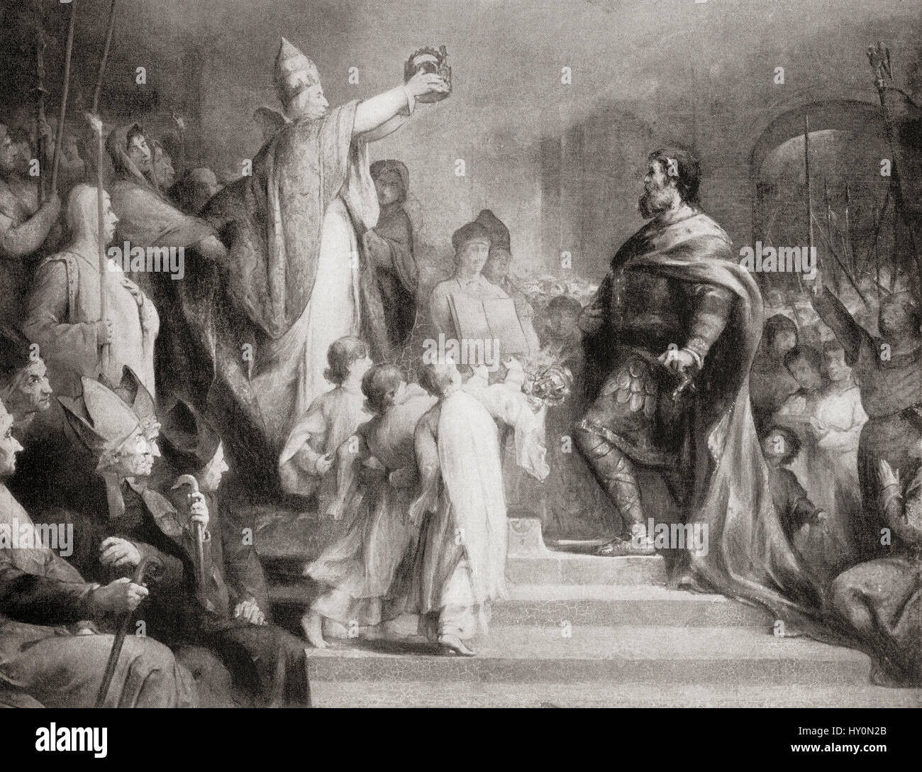 The coronation of Charlemagne as Roman Emperor in 800 by Pope Leo III on Christmas Day, Old St. Peter's Basilica. - Stock Image