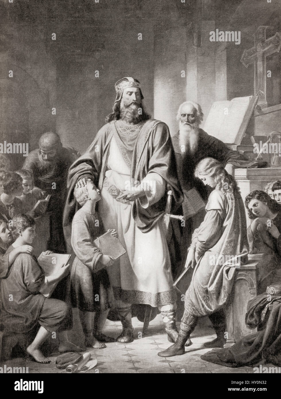 Charlemagne and his scholars.  Charlemagne aka Charles the Great, 742/747/748 - 814, numbered Charles I.  King of - Stock Image