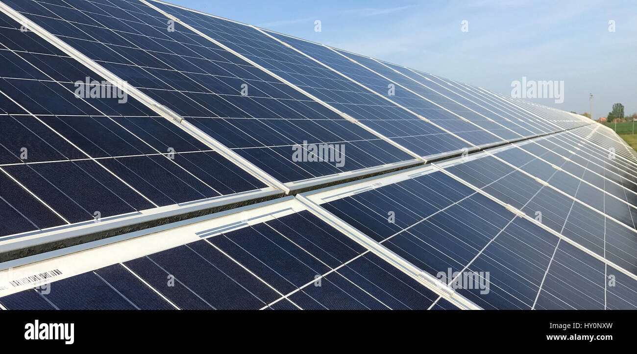 aerial view of a solar farm - a field of solar panels in the north of Italy - Stock Image