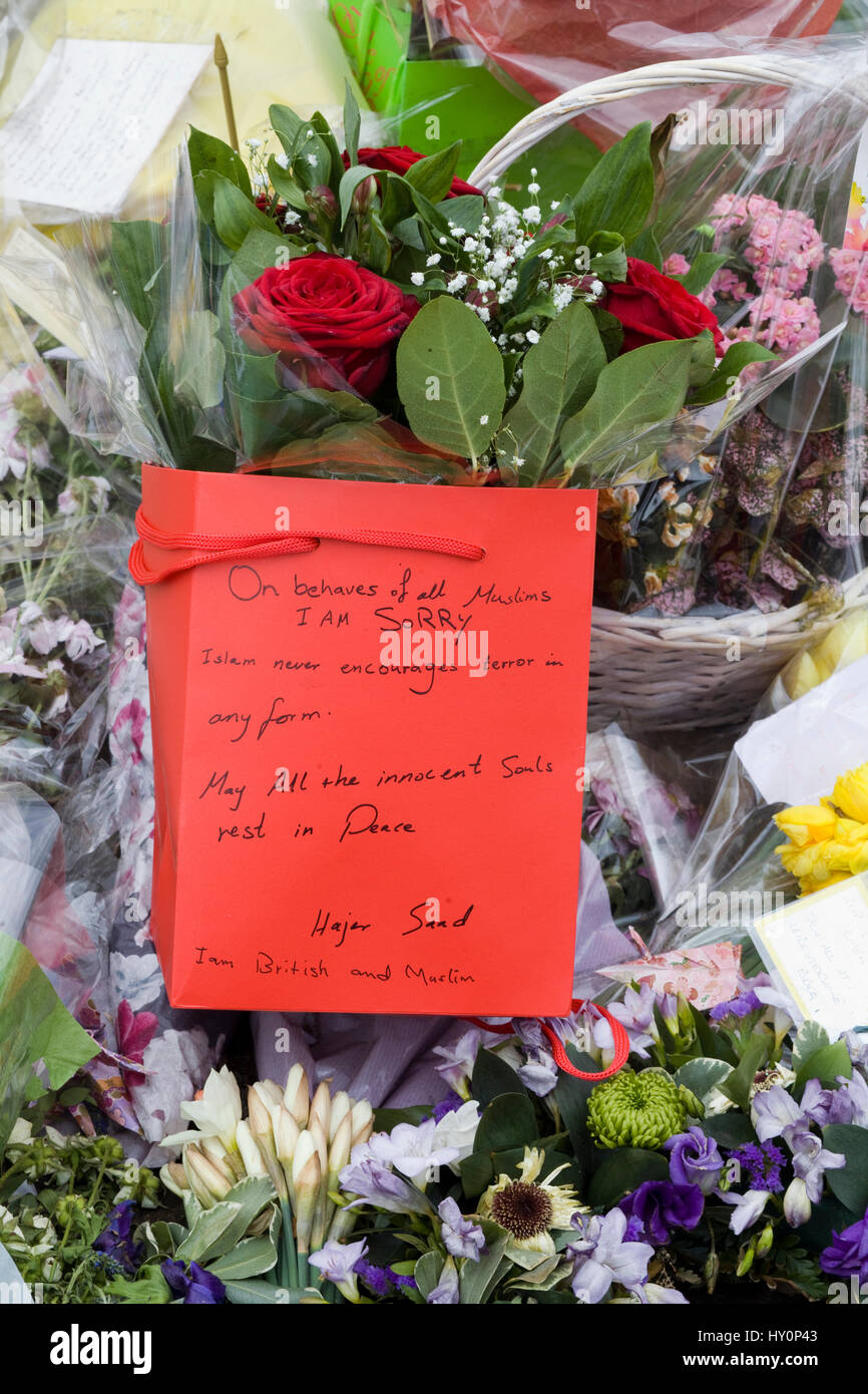 Floral tribute opposite Westminster Abbey - Stock Image