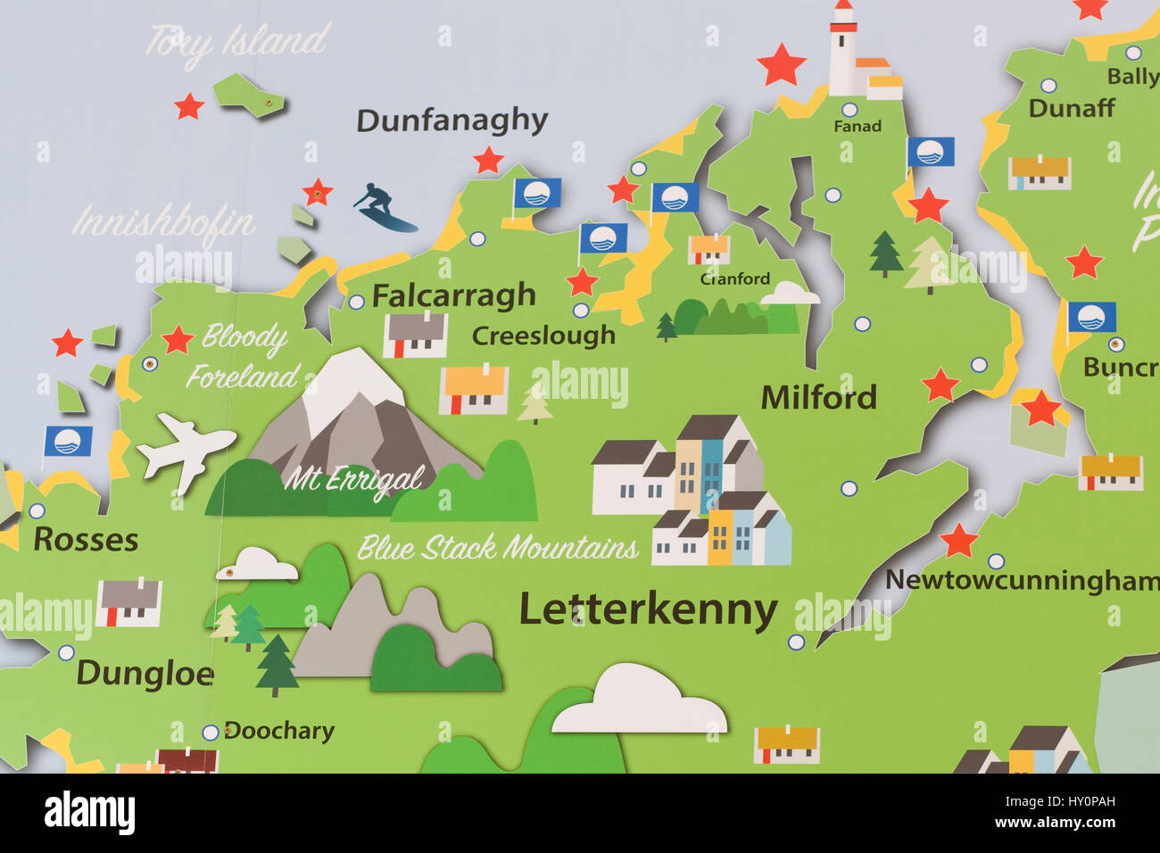 Map of County Donegal Ireland - Stock Image