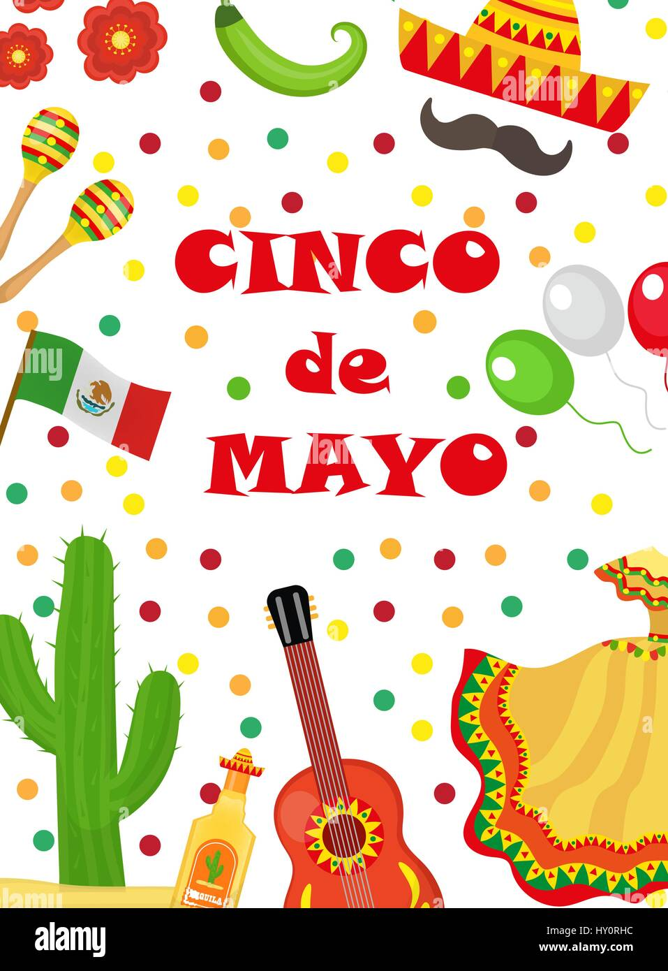 Cinco de mayo greeting card template for flyer poster invitation cinco de mayo greeting card template for flyer poster invitation mexican celebration with traditional symbols vector illustration m4hsunfo